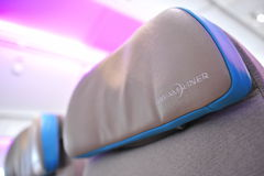 Head rest of Boeing 787 Dreamliner at Singapore Airshow 2012 Royalty Free Stock Image