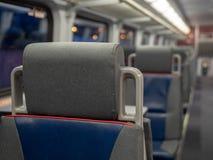 Head rest on seat in an empty train cabin Stock Photo