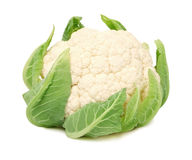 Head of ripe cauliflower with green leaves (isolated) Stock Images
