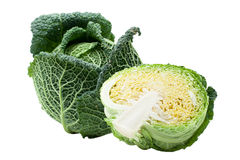 Head of ripe Savoy cabbage and half isolated Royalty Free Stock Image