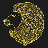 Head roaring lion style zentangle. Stock Photo