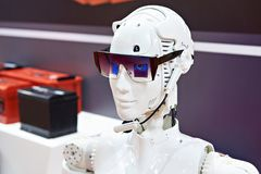 Head of robot for exhibition stock photography