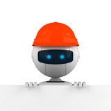 Head of robot man and hat. Closeup of a robotic man wearing a bright orange hat or cap, peering over a wall Stock Photo