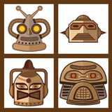 Head Robot Vector Design. Tin Toy Robot Head  new design Stock Images