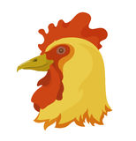 Head of a rooster. Symbol of new year 2017 golden rooster, color illustration of its head Stock Images