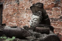 Head of ruin Buddha statue, Ayutthaya. Head of old ruin Buddha statue at Ayutthaya historical park. Background of ruin building walls stock image