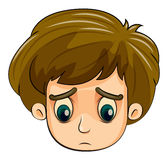A head of a sad young boy. Illustration of a head of a sad young boy on a white background Royalty Free Stock Image