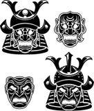 Head samling för samurajer Arkivfoton