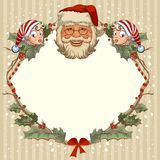 The head of Santa Claus and gnome. Template cards for Christmas Royalty Free Stock Photos