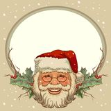 The head of Santa Claus. Template cards for Christmas Stock Photography
