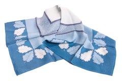 Head-scarf en cortinas del azul Imágenes de archivo libres de regalías