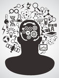 Head with science icons set Royalty Free Stock Photos