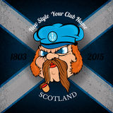 Head of Scottish sailor in cap on Schotland flag grunge background Royalty Free Stock Photo