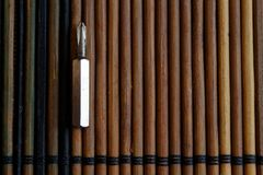 Head for screwdriver bits on wooden background, Tools collection turn-screw.  Royalty Free Stock Photos