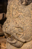 Head sculpted lion detail of Shore temple. Close-up head of huge  sculpted lion detail of Shore temple in Mamallapuram, Tamil Nadu , India Royalty Free Stock Photos