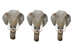 head sculptrue tre för elefant Arkivbilder