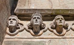 Head sculptures of Stavanger Cathedral  (XIII c.). Norway Stock Images