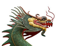Head scultureisolat för drake Arkivbilder