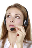 Head-set Business Girl Royalty Free Stock Images