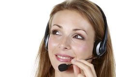 Head-set Business Girl Royalty Free Stock Photography