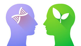 Head set with a DNA sign and a plant Stock Image