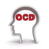 Head shape with red ocd text or Obsessive compulsive disorder. Anxiety symptoms concept over white background Royalty Free Stock Images