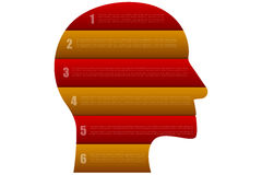Head shaped business infographics with 6 steps in origami style Royalty Free Stock Photo