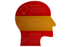 Head shaped business infographics with 3 steps in origami style Royalty Free Stock Images