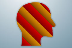 Head shaped icon from red and orange or gold paper layers in o Royalty Free Stock Images
