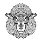 Head sheep. Ethnic patterns. Hand drawn vector illustration with floral elements. Lamb, animal symbol Stock Image
