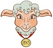 The head of sheep with a gold medal in 2015. Lamb with a gold medal in 2015. Illustration in vector format Stock Photos