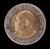 Head of a 20 shilling coin, issued by Kenya in 2005, depicting the portrait of the First President Royalty Free Stock Photo