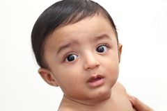 Head shot of adorable baby boy. Close up stock image