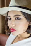 Head shot of asia woman with hat, beauty concept Stock Photos
