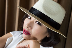 Head shot of asia woman with hat, beauty concept Stock Photography