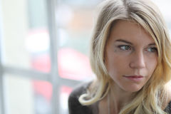 Head Shot of a Beautiful Blond Woman with Brown Eyes Royalty Free Stock Photos