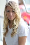 Head Shot of a Beautiful Blond Woman with Brown Eyes Royalty Free Stock Image