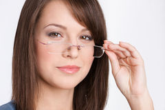 Head shot of business woman in glasses stock photo