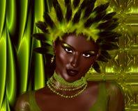 Head shot, green feathers, digital model Stock Photos