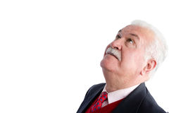 Head shot of handsome senior looking upwards Royalty Free Stock Images