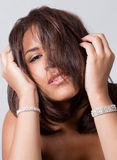 Head Shot Of Model With Hair Over Face Royalty Free Stock Photos