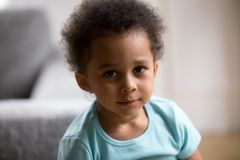 Head shot portrait toddler African American child royalty free stock photo