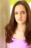 Head shot of pretty preteen girl. Close up of beautiful tween girl Royalty Free Stock Photography