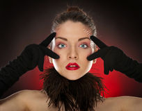 Head shot of sexy pinup model wearing gloves Stock Photo