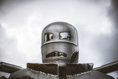Head shot of steel retro robot Royalty Free Stock Image
