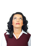 Head shot of woman looking up Stock Photos