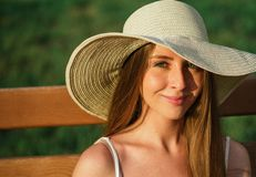 Head shot young woman in park Royalty Free Stock Images