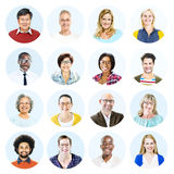 Head shots of Multi-Ethnic Group of People Isolated Royalty Free Stock Images