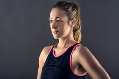 Head and shoulder portrait of young fit woman. With copy space Royalty Free Stock Image