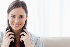 Head and shoulder shot of a woman smiling Stock Photos